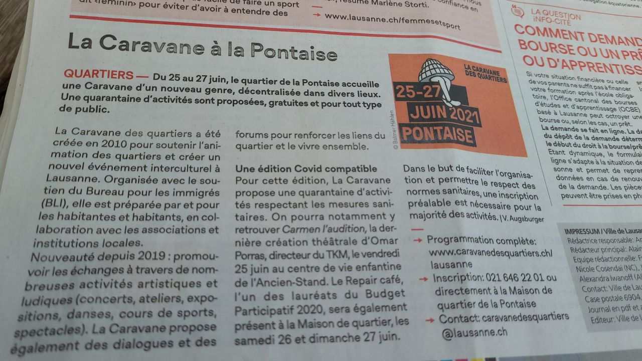 Article de Journal sur Le projet Repair Café Lausanne - La Caravane à la Pontaise